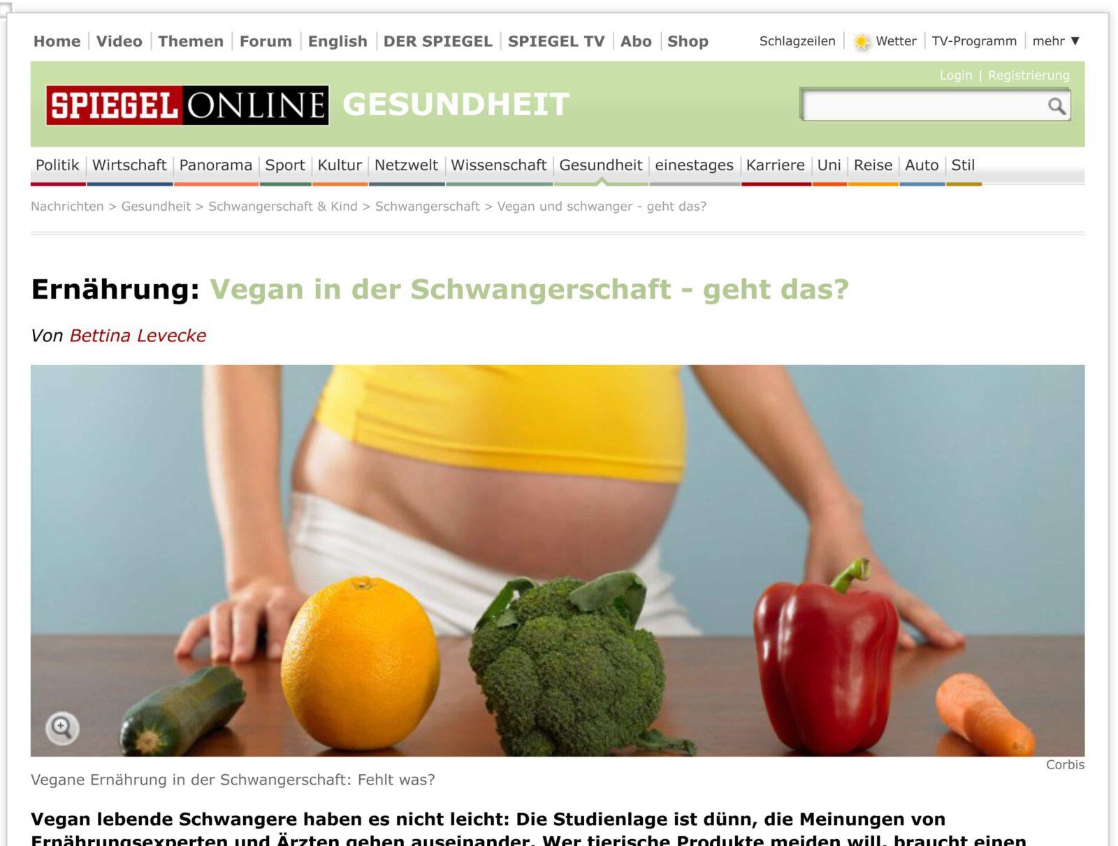 Vegane Schwangerschaft: Interview bei Spiegel Online