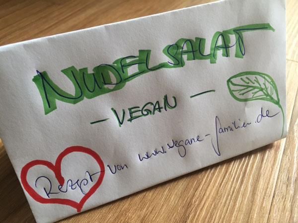 Schild Nudelsalat vegan
