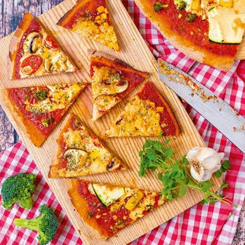 Pizza vegan Vollkorn Dinkelteig